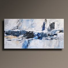 48 Large ORIGINAL ABSTRACT Gray Blue Painting on Canvas by itarts