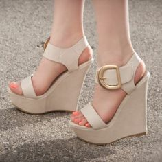 Ankle Strap Wedges, Shoes Heels Wedges, Wedge Sandals, Nude Wedges, Prom Shoes, Me Too Shoes, Fashion Shoes, Shoe Boots, Las Vegas