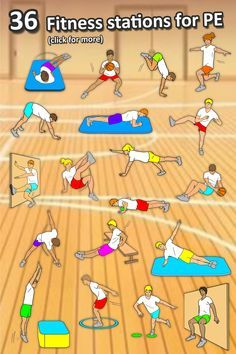 Fitness Circuit Station cards - 36 PE activities for elementary & middle school . - Fitness Circuit Station cards – 36 PE activities for elementary & middle school – – - Physical Education Activities, Elementary Physical Education, Elementary Pe, Pe Activities, Health And Physical Education, Gross Motor Activities, Movement Activities, Elderly Activities, Dementia Activities