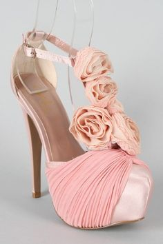 Pink Chiffon Rosette Platfrom Pump: SOO Girly, Simply Gorgeous. Check these out at urbanog.com