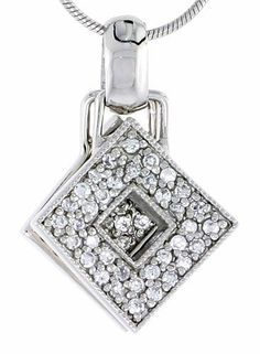 Silver , Gold , Rose Gold , Black Rhodium Plated MOP Fancy Pendant with Micro Pave Cubic Zircon  10.5 X 31 MM