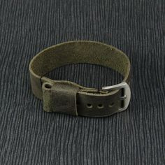Handmade Vintage Black Olive Leather NATO Strap by CozySG on Etsy