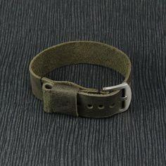 Handmade Vintage Black Olive Leather NATO Strap by CozySG on Etsy
