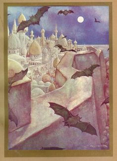 The Bronze City which attracts Emir Moosa and his companions - 1001 Nights. Anton Pieck