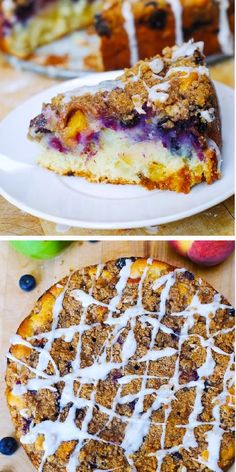 SUMMER CAKE with Apples, Blueberries, Peaches, Crumb Topping, and Vanilla Glaze – a perfect Summer cake. Luscious crumb topping is made with brown sugar and cinnamon and sprinkled on top of fruit and berries. Top all of this with the vanilla glaze and you have a winner! #summercake #dessert #applecake #peachcake #blueberrycake Peach Coffee Cakes, Peach Cake, Vanilla Glaze, Roll Cookies, Cooked Apples, Summer Cakes, Blueberry Cake, Apple Desserts, Farm Stand