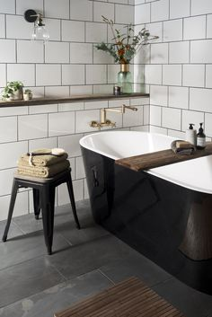 Small bathroom in need of clever tricks? Browse our small bathroom design ideas . Small bathroom ideas: 16 clever ways to stretch your space White Wall Tiles, White Bathroom Tiles, Bathroom Floor Tiles, Bathroom Wall, Budget Bathroom, White Tiles Black Grout, Slate Tiles, Black White Bathrooms, Shiplap Bathroom
