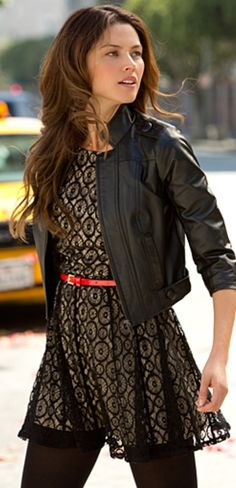 cute black leather jacket with lace black dress and some black tights with black boots