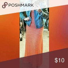 Orange maxi dress Orange and white dress, used once, dress has no problems, fits tight on the top half Dresses Maxi