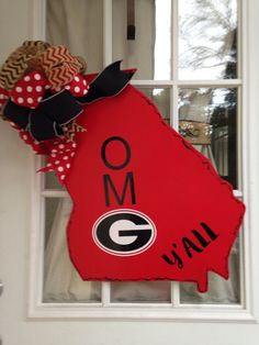 Be the talk of half time, Sporting this unique, sassy door decor. In note to seller choose polka dot pattern or solid pattern letters. Football Door Hangers, Georgia, Christmas Ornaments, Trending Outfits, Holiday Decor, Front Porch, Unique Jewelry, Handmade Gifts, Vintage