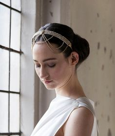 Wedding Headpiece - Bohemian Bridal Accessory -1920s Headpiece - Goldtone Headpiec, - AgnesHart on Etsy, $295.00