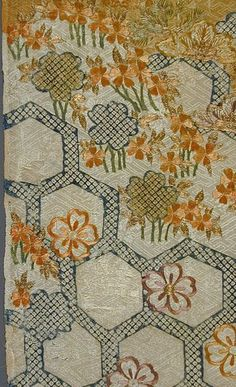 File:Fragment of a Kimono (Kosode) with Design of Pine Branches, Cherry Blossoms, and Tortoise Shell Pattern LACMA M.39.2.302 (2 of 2).jpg