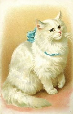 Beautiful Victorian cat art! This looks like lucky but her eyes would be different colors and have her gray spot