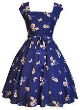 Lady Vintage 50s Retro Navy & Pink Butterfly Swing Rockabilly Dress Size 8-22