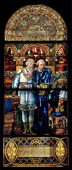 Charlemagne and Alcuin Alcuin was the monk Charlemagne hired to educate people.