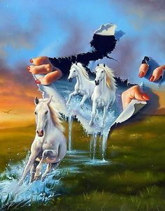 Fine art by master artist Jim Warren. Optical Illusion Paintings, Different Kinds Of Art, Surrealism Painting, Illusion Art, Horse Art, Surreal Art, Beautiful Paintings, Art Pictures, Creative Art