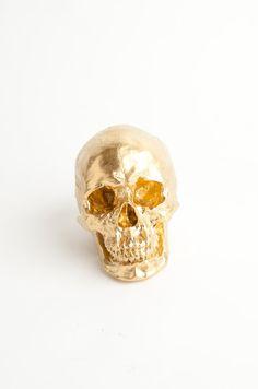 The X-LARGE Fitz - Extra Large Gold Faux Human Head - Resin Skeleton - Sugar Skull Like - Halloween Decor - Decorative Halloween Skull