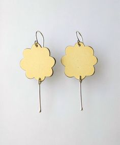 GUST Earrings  Pale Yellow Laminate and by DevonClarkMetal on Etsy, $54.00