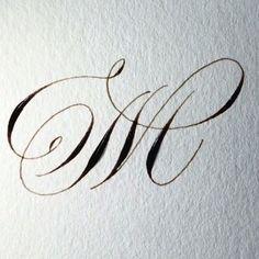 Beautiful calligraphic M Copperplate Calligraphy, Calligraphy Drawing, Calligraphy Practice, Calligraphy Handwriting, Calligraphy Letters, Penmanship, Caligraphy, Modern Calligraphy, Creative Lettering