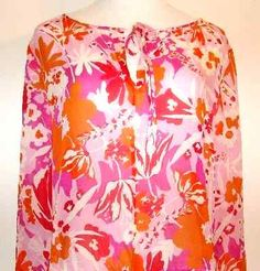 EXPRESS Blouse 100 % SILK Pink Orange White Size L Beautiful Light and Airy