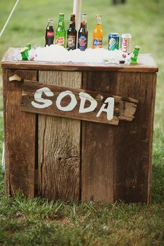 @Kat Netzler Garden Ridge has these wooden outdoor coolers. you know my main concern is the beverages. (add #diy #custom #wedding #printables www.customweddingprintables.com)