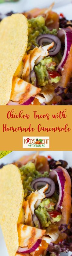 Chicken tacos are a healthy and kid friendly dinner that delivers a lot of flavor. A crispy taco shell is the perfect vessel for juicy chicken with a hint of spice. Adding some lettuce and toppings like onions just enhance the experience while the guacamo Healthy Dinners For Kids, Healthy Toddler Meals, Healthy Work Snacks, Easy Healthy Recipes, Healthy Food, Healthy Salads, New Chicken Recipes, Beef Recipes For Dinner, Mexican Food Recipes