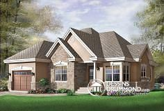 Discover the plan 3222 - Foxwood from the Drummond House Plans house collection. 2 bedroom bungalow house plan with garage and great fireplace in family room, breakfast nook. Total living area of 1355 sqft. Plan Garage, Garage House Plans, Bungalow House Plans, Cottage House Plans, Small House Plans, Cottage Living, Craftsman Exterior, Craftsman Bungalows, Craftsman Style