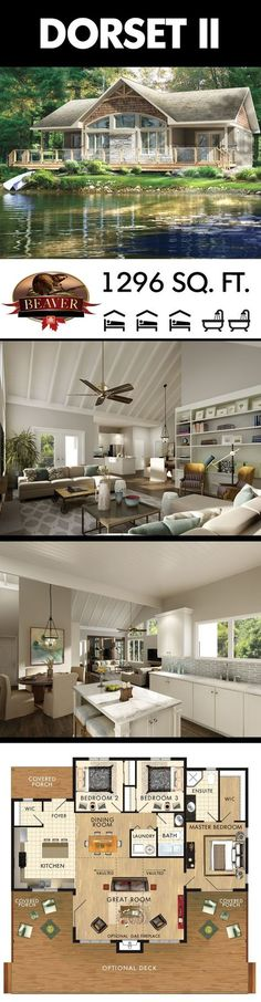 If you crave a large outdoor view then consider building the Dorset II Model. Ta… If you crave a large outdoor view then consider building. Lake House Plans, Dream House Plans, Small House Plans, One Floor House Plans, Cabin Floor Plans, Lake Cottage, Cottage Homes, Cottage Home Plans, Small Cottage Plans
