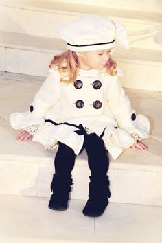 Alexandra Ruffled White Pea Coat by ArabellaRoseDesigns on Etsy, $115.00