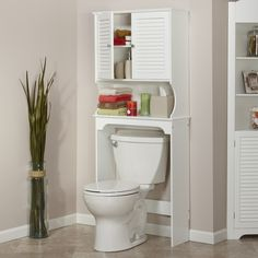 White Tall Space Saving Toilet Cabinet Fit Over Toilet Bathroom Storage Cupboard in Home, Furniture & DIY, Furniture, Cabinets & Cupboards Space Savers, Over The Toilet Cabinet, Over Toilet, Room Shelves, Bathroom Space Saver, Cupboard Storage, Cabinet Shelving, Toilet, Bathroom Etagere