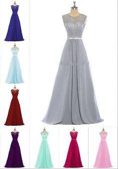 Long Chiffon Lace Bridesmaid Dress Evening Party Gown Women Formal Size UK 6-22w