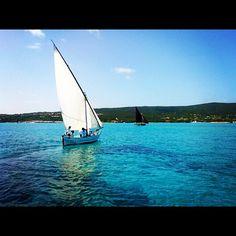 A #Stintino l'ultimo #weekend di agosto si tiene la storica regata della vela latina. È bello vedere tanti 'gozzi' gareggiare in queste splendide acque - taken by @sardegna_com - via http://instagramm.in