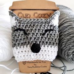 This item is unavailable Crochet Wolf, Cute Crochet, Crochet Yarn, Crochet Hooks, Crochet Pattern, Crochet Ideas, Bubble Crafts, Crochet Coffee Cozy, Coffee Cup Cozy