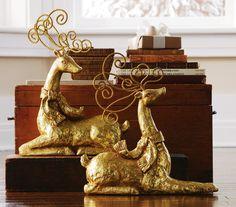 Elegant Shimmering Gold Gilded Christmas Holiday Reindeer