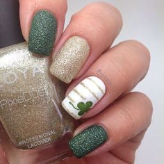 Feelin' lucky today? Try out these artsy St. Patricks Day Manis #nails #stpaddysday #beauty