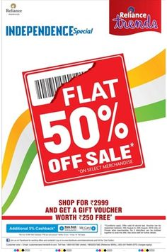 Independence Day Special Flat 50% Off + 5% Cashback On Sbi Cards