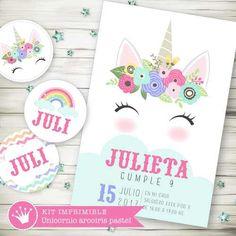 Kit Imprimible Unicornio Arcoiris Pastel Candy Invitación 3 - $ 300 en Melinterest