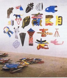 RICHARD KILLEEN, Pooled Memory and Some Empty Fish 1984  Winsor and Newton alkyd on aluminium (20 pieces)