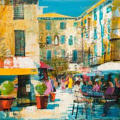 CAFE, MENTON, FRANCE 16X16 Mike Bernard