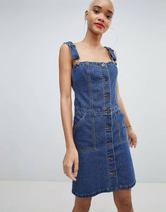 Liquor N Poker Denim Button Through Mini Dress