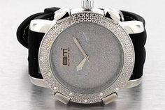 BM Bling Master MENS HIP HOP ICED WATCH BLACK SILVER CZ FREE EARRINGS BIG ICEY