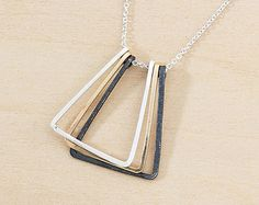 Geometric Necklace with Three Open Triangles, Mixed Metal Pendant in Black Silver and Gold, Modern Minimal Jewelry, Handmade Hammered Wire