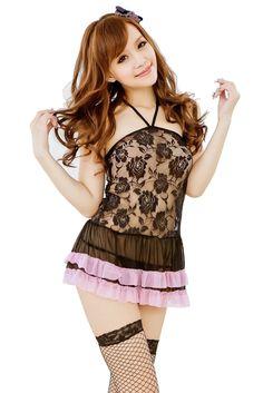 a022c3e9eec Amazon.com  Intimates21 - Sexy Lingerie Halterneck Black Lace Mini Dress  Babydoll  Clothing