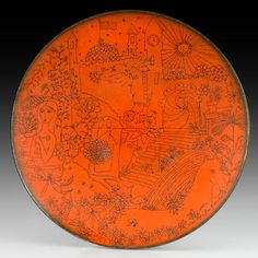 Wing Ng; Enameled Copper 'Imaginary Scene' Plate, 1960s.