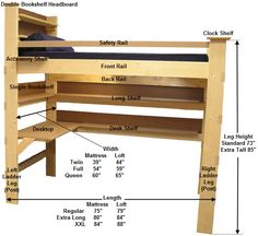 diy loft bed with different options - Free Loft Bed With Desk Plans