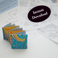 Wind & Snow, coloring book project, How to make a lotus book, origami fold tutorial, coloring pages, DIY lotus coloring book by CamilleRiner on Etsy