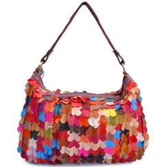 Petal Handmade Genuine Leather Women's Handbag Messenger Travel Bag in Splicing Leather #bag