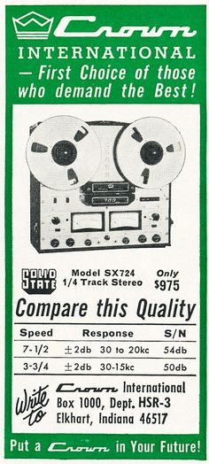 1966 ad for the Crown professional tape recorders in Phantom Productions vintage recording collection Crown Audio, Professional Audio, Tape Recorder, Diy Projects, Museum, Ads, Collection, Vintage, Advertising