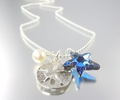 GIVEAWAY Sterling Silver Tropical Blue Starfish & Sand Dollar Necklace. Like Camla FB to win it this Monday, 8/27.