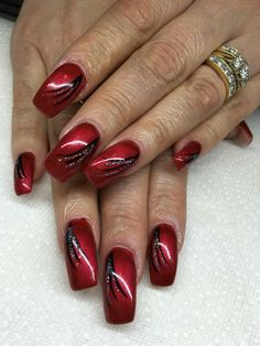 Nägel Gel nails with hand drawn design using gel By Melissa Fox Roses When To Send Them & Why R Red Nail Designs, Winter Nail Designs, Colorful Nail Designs, Simple Nail Designs, Red Gel Nails, Cute Acrylic Nails, Gel Nail Art, Cute Nails, Nail Pink
