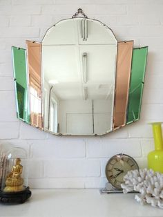 Art Deco Bevelled Edge Wall Mirror with Colored Glass, . Vintage Art Deco Bevelled Edge Wall Mirror with Colored Glass, Vintage Art Deco Bevelled Edge Wall Mirror with Colored Glass, Coastal Grey Casa Art Deco, Art Deco Bar, Art Deco Home, Art Deco Bathroom, Art Deco Mirror, Mirror Glass, Wall Mirrors, Mirror Mirror, Motif Art Deco